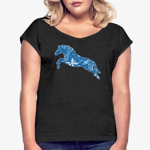 Flower Suokki IV - Naisten T-paita, jossa rullatut hihat