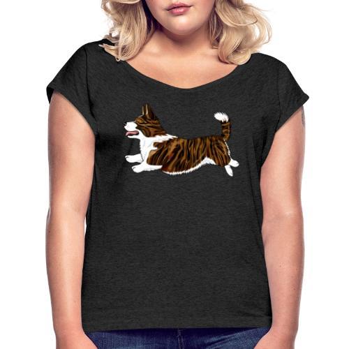 Welshcorgi7 - Naisten T-paita, jossa rullatut hihat