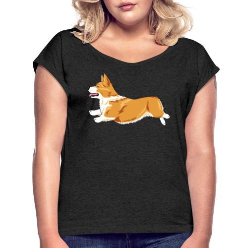 Welshcorgi4 - Naisten T-paita, jossa rullatut hihat