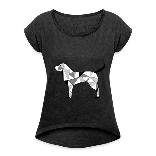 Hund illustriert - Frauen T-Shirt mit gerollten Ärmeln