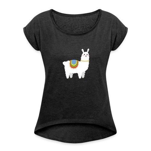 Alpaka - Frauen T-Shirt mit gerollten Ärmeln