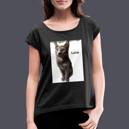 Luna The Kitten - Women's T-Shirt with rolled up sleeves