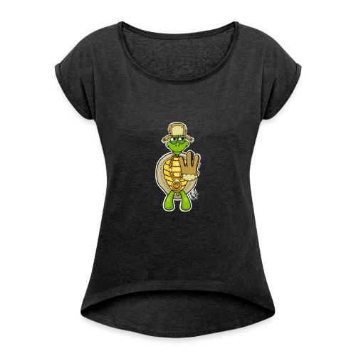 Winter West Coast Schildkröte / Hip-Hop Turtle - Frauen T-Shirt mit gerollten Ärmeln