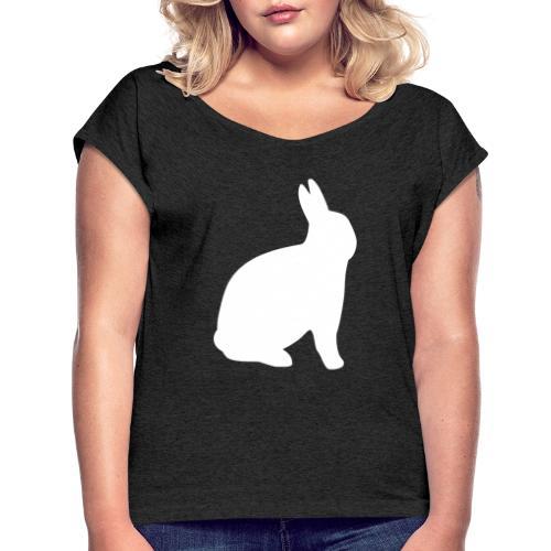 T-shirt personnalisable avec votre texte (lapin) - T-shirt à manches retroussées Femme