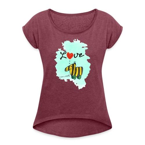 Janosch Tigerente Love Türkis SP - Frauen T-Shirt mit gerollten Ärmeln