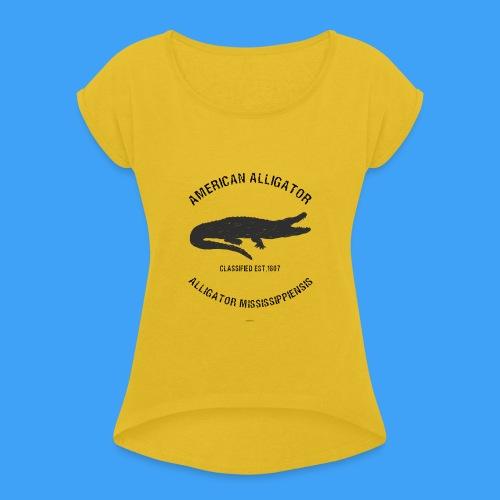 American Alligator black - Vrouwen T-shirt met opgerolde mouwen