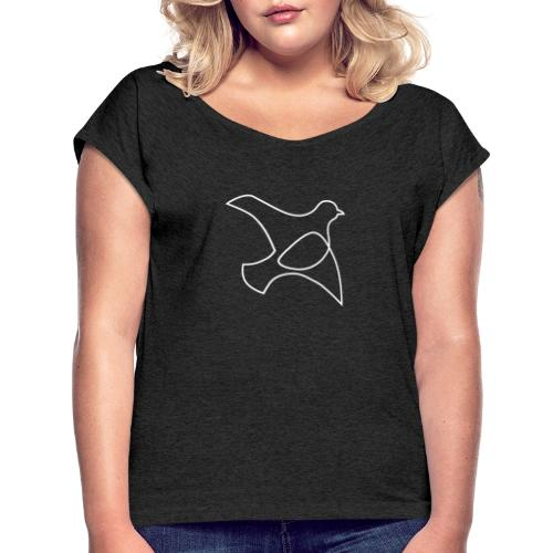 oP-Friedenstaube minimalistisch weiss - Frauen T-Shirt mit gerollten Ärmeln