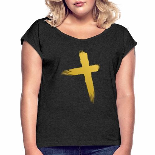 Kreuz Jesu - Frauen T-Shirt mit gerollten Ärmeln