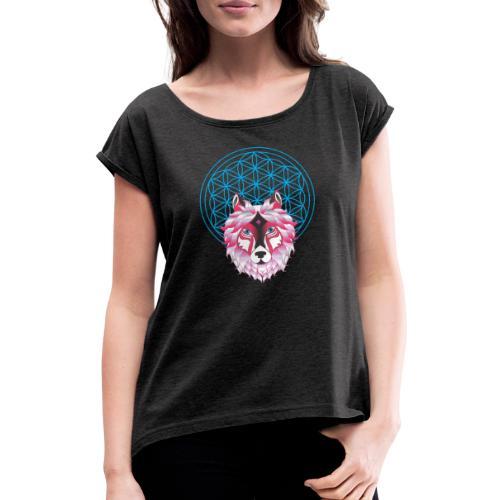 fleur de vie loup n°1 - T-shirt à manches retroussées Femme