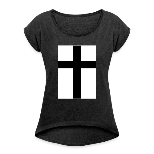 Cross - T-shirt med upprullade ärmar dam