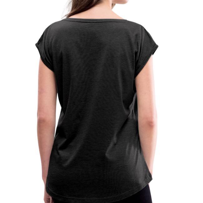 Vorschau: Fad hunga miad koid so bin i hoid - Frauen T-Shirt mit gerollten Ärmeln