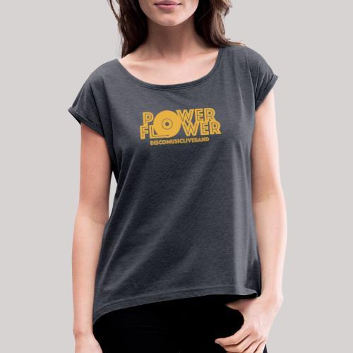 logo def PF 1colore giallo - Maglietta da donna con risvolti