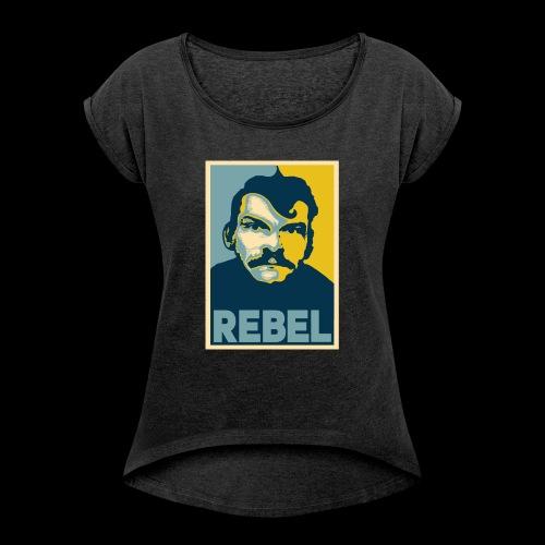 Rebel - T-shirt med upprullade ärmar dam