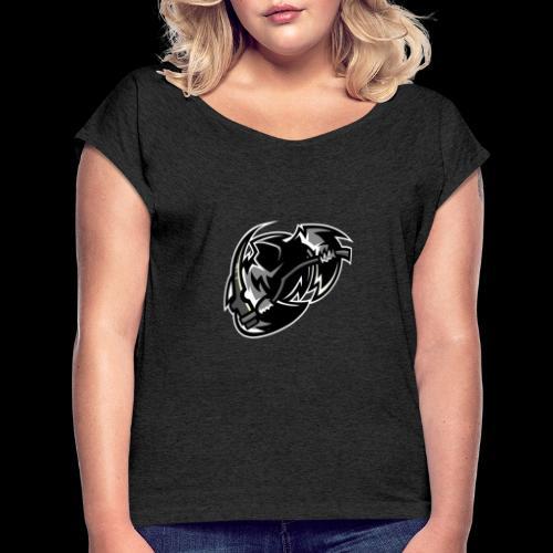 tsrschwarz weis - Frauen T-Shirt mit gerollten Ärmeln