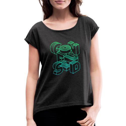 Confused - T-shirt med upprullade ärmar dam