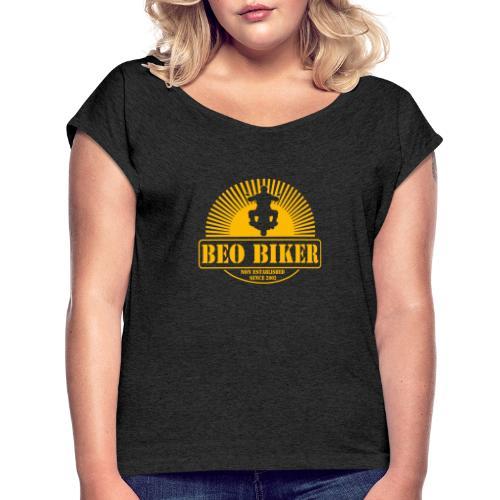 Logo Beo Biker Yellow - Frauen T-Shirt mit gerollten Ärmeln