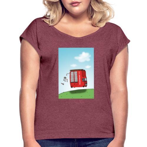 Feuerwehrwagen - Frauen T-Shirt mit gerollten Ärmeln