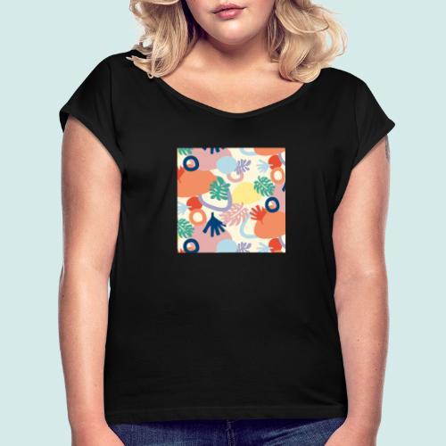 Urban leaves - Frauen T-Shirt mit gerollten Ärmeln