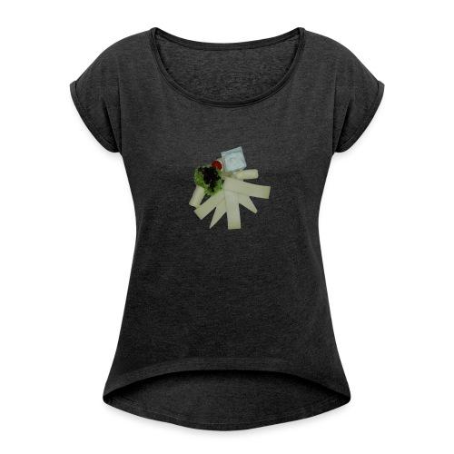 Käseteller Variation - Frauen T-Shirt mit gerollten Ärmeln
