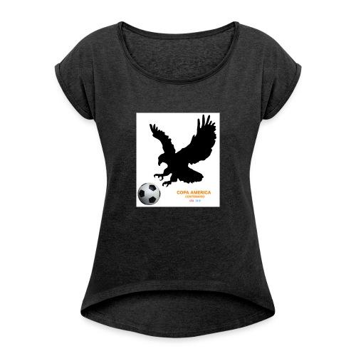 Aguila norteamericana con balón de fútbol - Camiseta con manga enrollada mujer