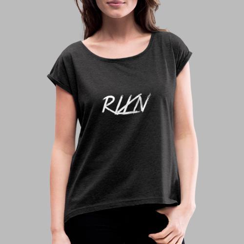LOGORLXNkleinweiss - Frauen T-Shirt mit gerollten Ärmeln