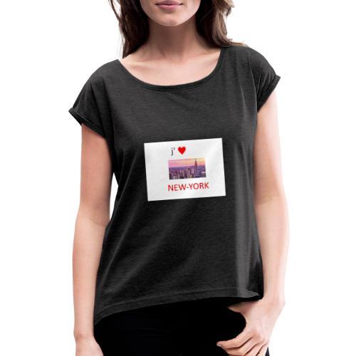 new york - T-shirt à manches retroussées Femme