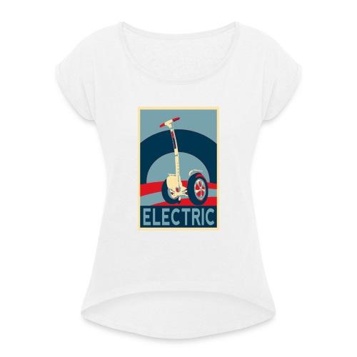 ELECTRIC - Camiseta con manga enrollada mujer