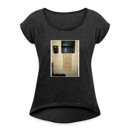 Stuck in the paperholder - T-shirt med upprullade ärmar dam