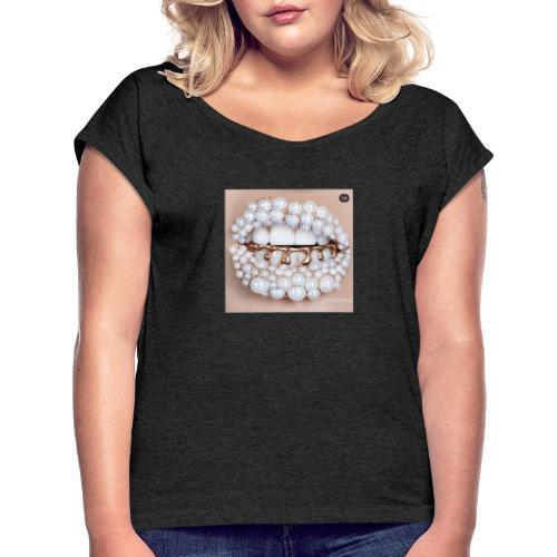 golden lips - Frauen T-Shirt mit gerollten Ärmeln