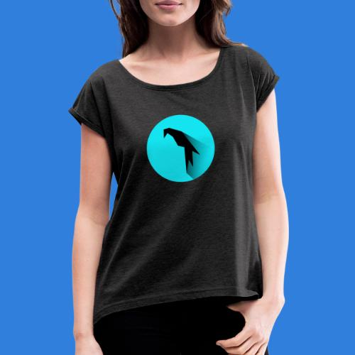 Parrot Logo + Prompt - Women's T-Shirt with rolled up sleeves