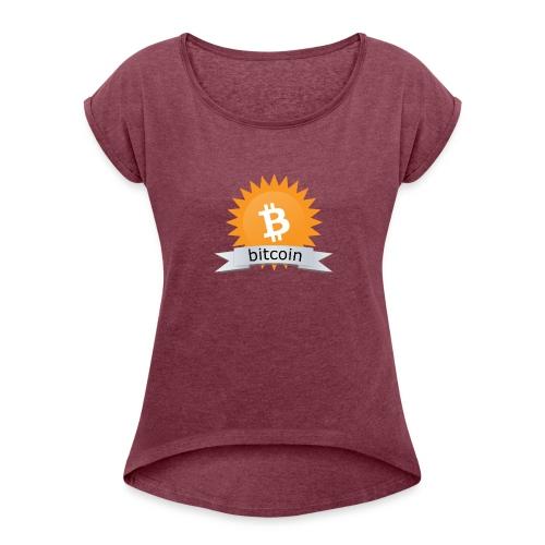 Bitcoin logo - Vrouwen T-shirt met opgerolde mouwen