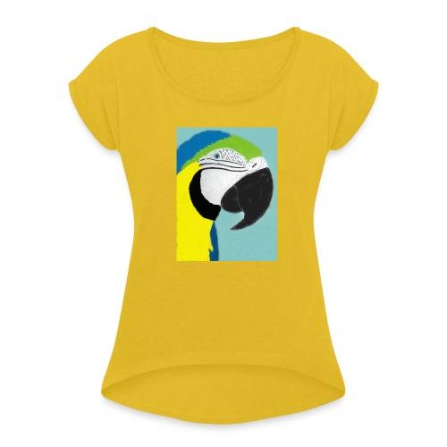 Parrot, new - Naisten T-paita, jossa rullatut hihat