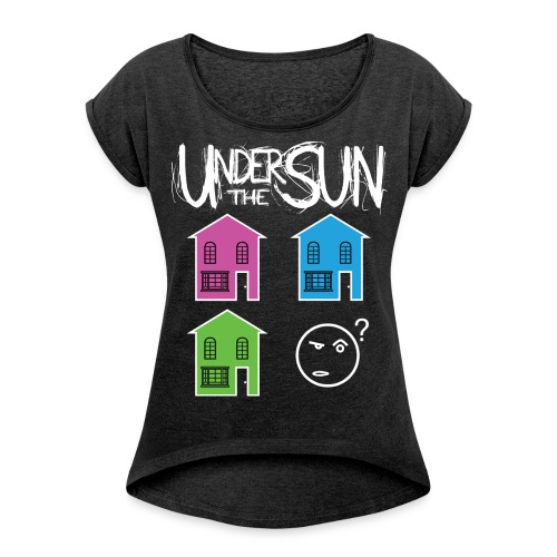 House White on Black png - Women's T-Shirt with rolled up sleeves