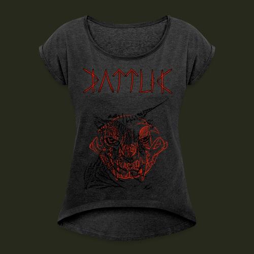 sessesskull - T-shirt med upprullade ärmar dam