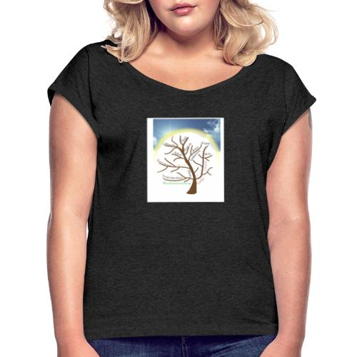 Baum mit Licht - Frauen T-Shirt mit gerollten Ärmeln