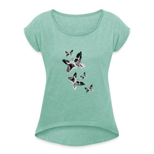 Schmetterlinge - Frauen T-Shirt mit gerollten Ärmeln