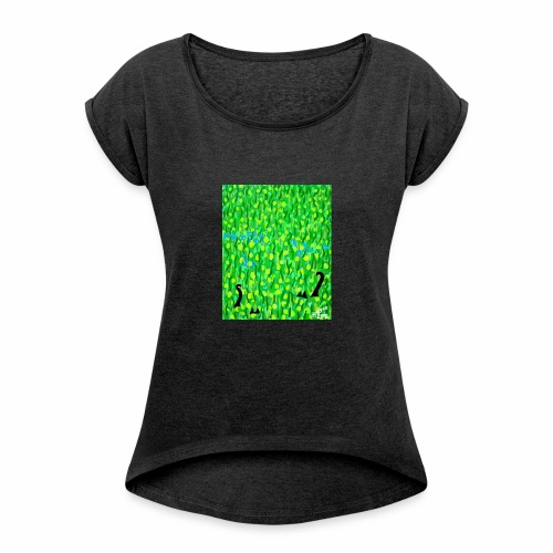 Two Black Cats - Women's T-Shirt with rolled up sleeves