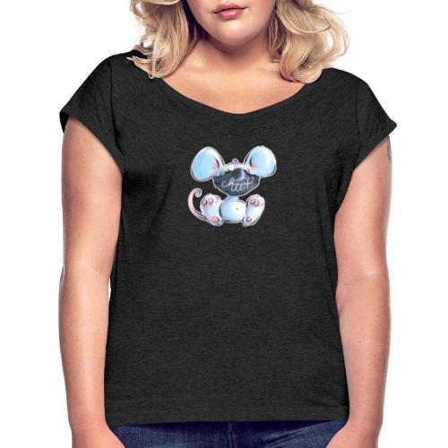 Maskenmaus - Frauen T-Shirt mit gerollten Ärmeln
