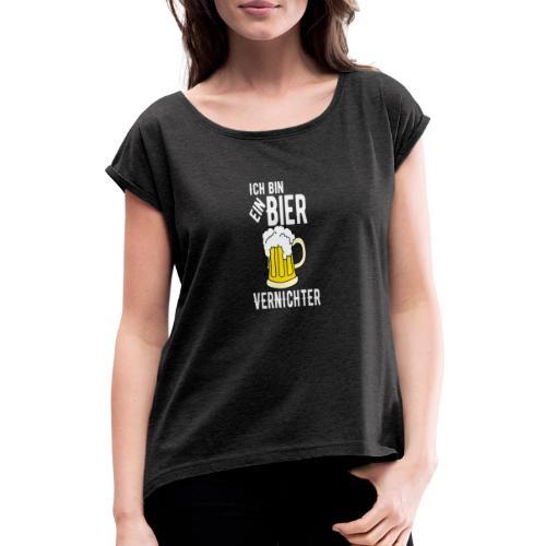 Biervernichter Bier Malle Party - Frauen T-Shirt mit gerollten Ärmeln