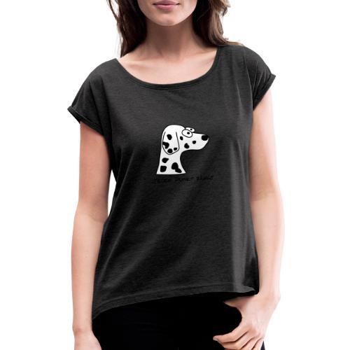 Comic-Dalmatiner - Frauen T-Shirt mit gerollten Ärmeln