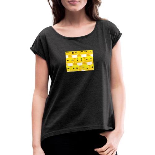 COVID19-maske - Frauen T-Shirt mit gerollten Ärmeln