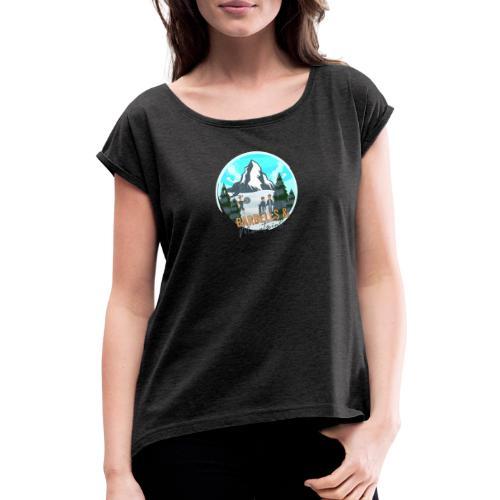 Barebells & Mountains - Frauen T-Shirt mit gerollten Ärmeln