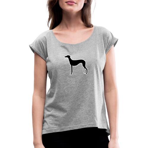 Galgo stehend - Frauen T-Shirt mit gerollten Ärmeln