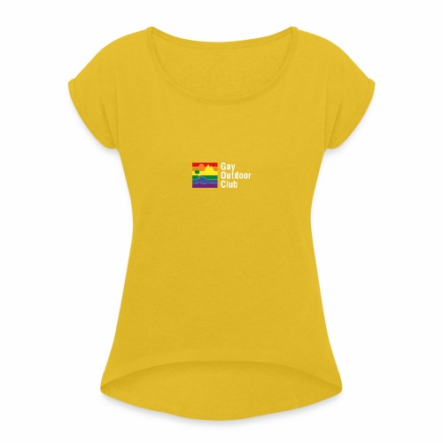 GOC Logo White Text - Women's T-Shirt with rolled up sleeves