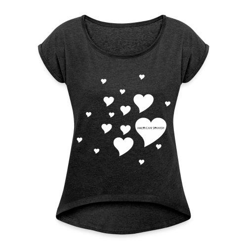 American Spanish Corazones - Camiseta con manga enrollada mujer