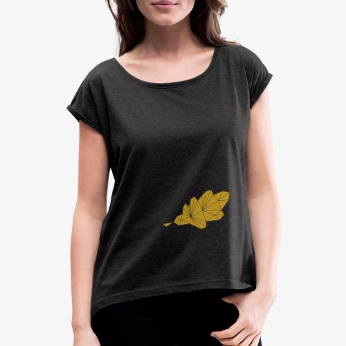 Eiche Blatt geometrisch - Frauen T-Shirt mit gerollten Ärmeln