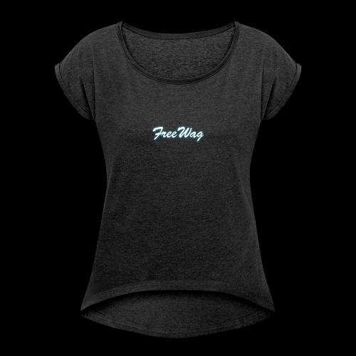 FreeWag Blanc - T-shirt à manches retroussées Femme