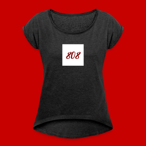 red on white 808 box logo - Women's T-Shirt with rolled up sleeves