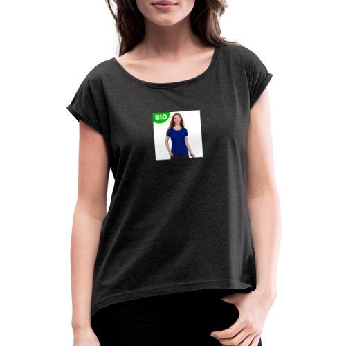 t shirt femme bio regen - T-shirt à manches retroussées Femme
