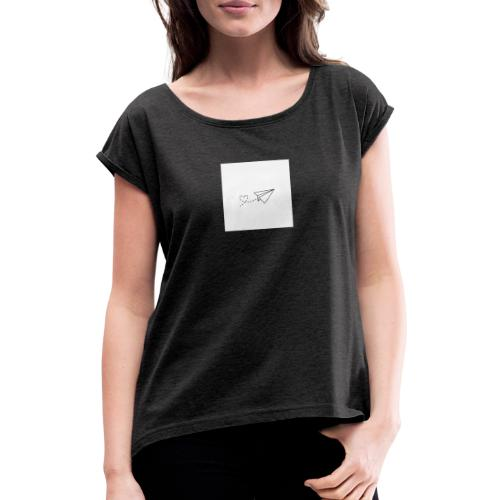 Papierflieger - Frauen T-Shirt mit gerollten Ärmeln